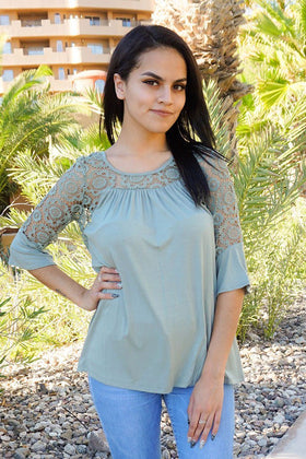 Picture This Sage Green Flounce Long Sleeve Lace Top 1