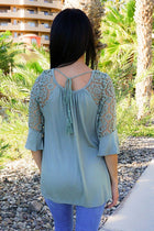Picture This Sage Green Flounce Long Sleeve Lace Top 3