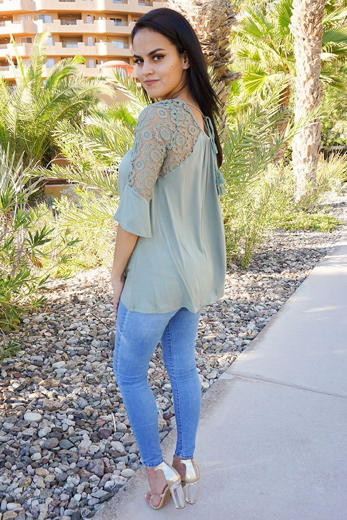 Picture This Sage Green Flounce Long Sleeve Lace Top 2