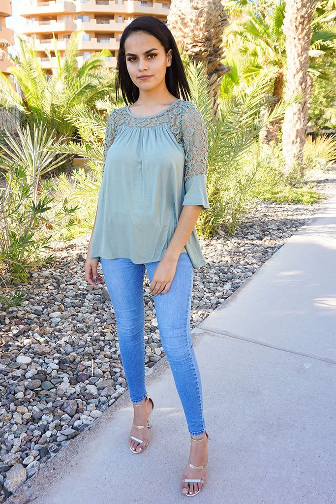 Picture This Sage Green Flounce Long Sleeve Lace Top 4