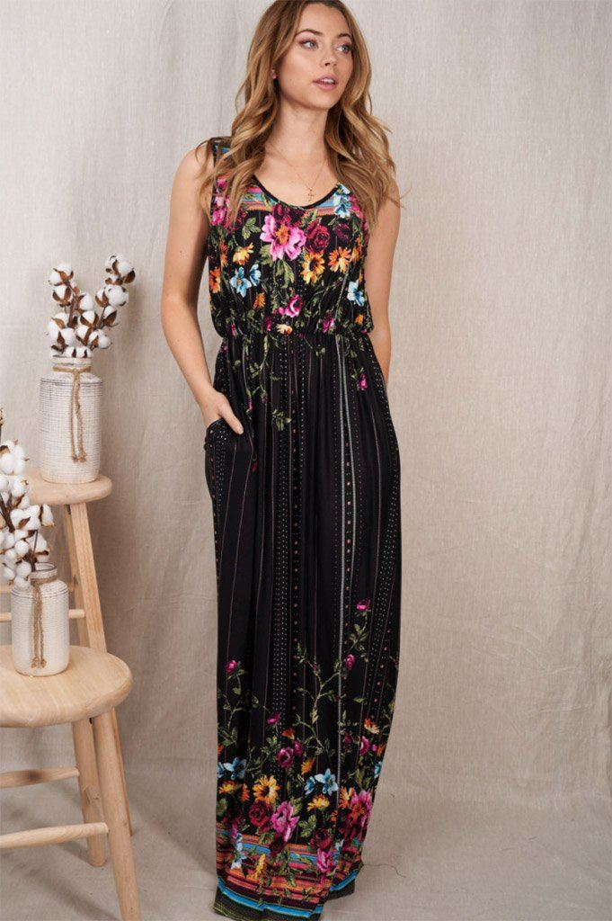 Picturesque Moments Black Floral Print Maxi Dress 3