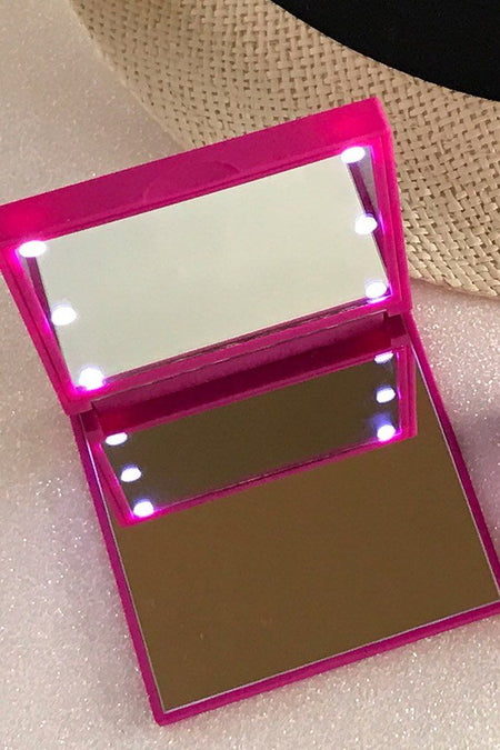 Pink Flo Led Lights Compact Mirror 1