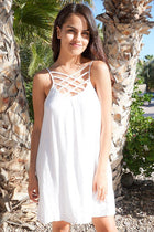 Play On Curves Crisscross White Shift Dress 1