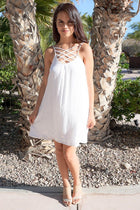 Play On Curves Crisscross White Shift Dress 4