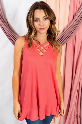 Pleasant Surprise Coral Sleeveless Strappy Top 1