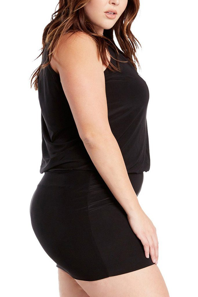 Plus Size South Beach Curvy Black Blouson Mini Dress 2
