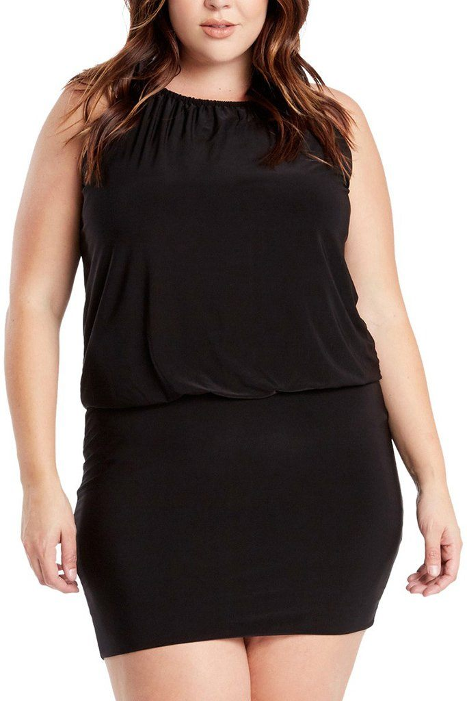 Plus Size South Beach Curvy Black Blouson Mini Dress