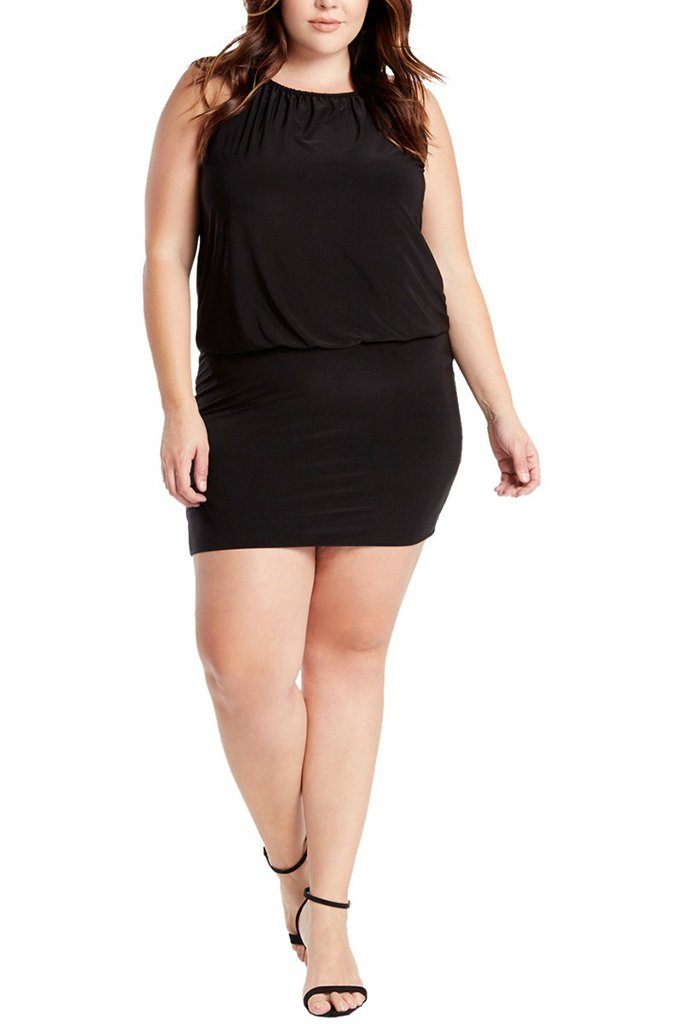 Plus Size South Beach Curvy Black Blouson Mini Dress 4