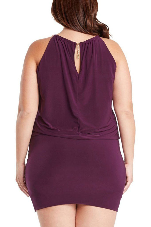 Plus Size South Beach Curvy Purple Blouson Mini Dress 3
