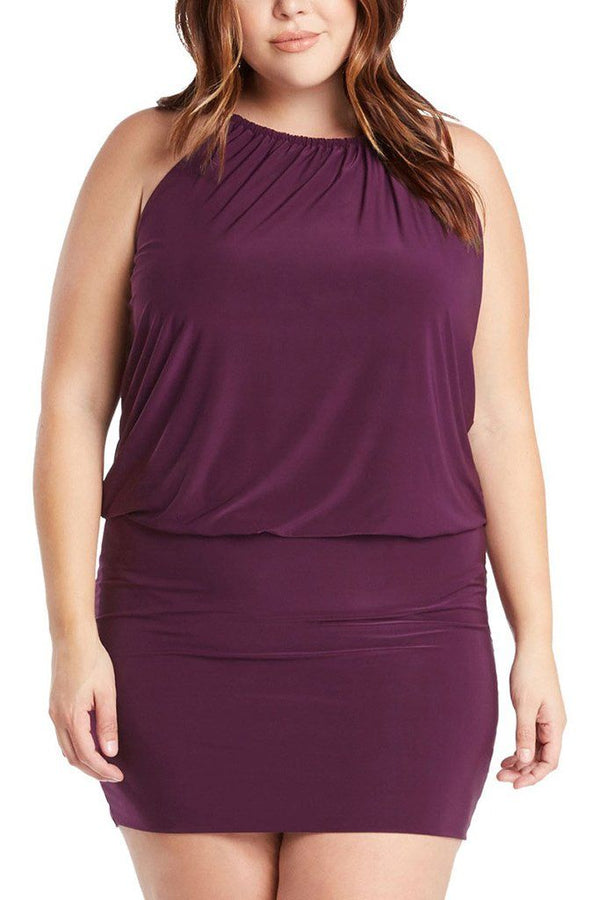 Plus Size South Beach Curvy Purple Blouson Mini Dress 1