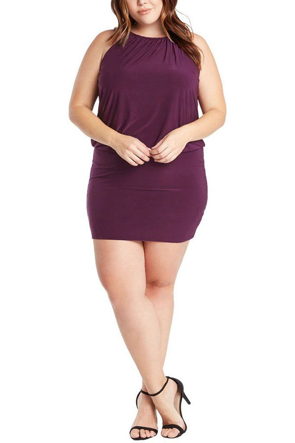 Plus Size South Beach Curvy Purple Blouson Mini Dress 4