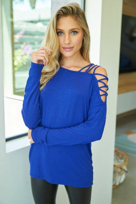 Power Of Wow Royal Blue Long Sleeve Dolman Top 1