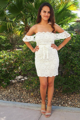 Precious Love White Lace Off The Shoulder Bodycon Dress 1