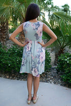 Precious Memories Sage Green Floral Print Sleeveless Skater Dress 4