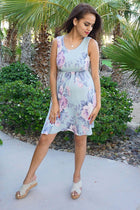 Precious Memories Sage Green Floral Print Sleeveless Skater Dress 3