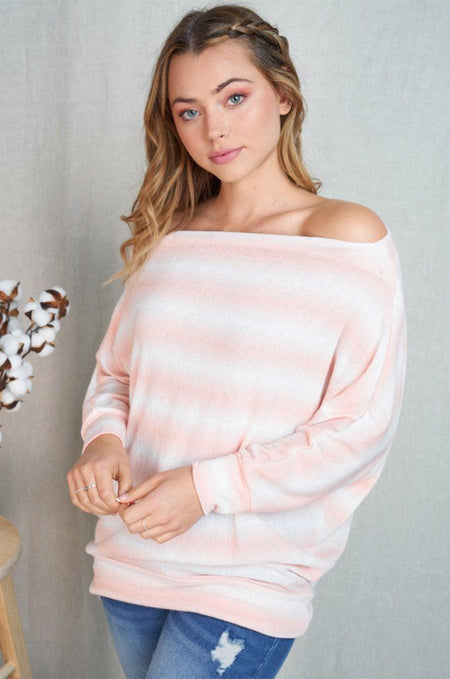 Pretty Cute Peach White Stripe Off The Shoulder Top 1