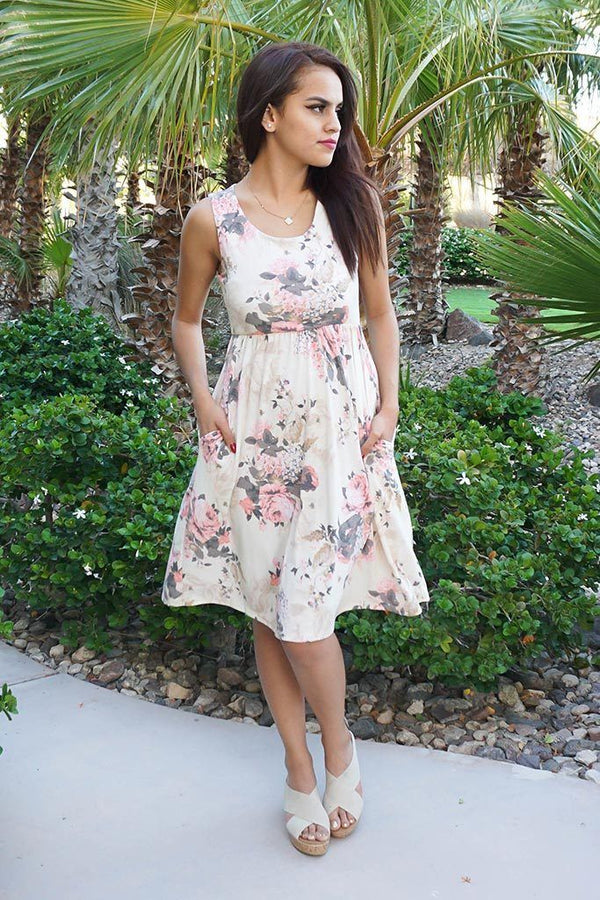 Pretty In Petals Yellow Floral Print Sleeveless Skater Dress 4