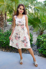 Pretty In Petals Yellow Floral Print Sleeveless Skater Dress