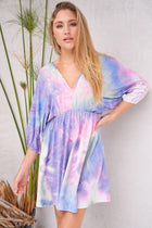 Pulling Out All The Stops Purple Multi Tie Dye Dress 1