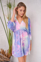 Pulling Out All The Stops Purple Multi Tie Dye Dress 4