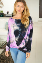Purple Rain Tie Dye Long Sleeve Twist Top 1