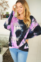 Purple Rain Tie Dye Long Sleeve Twist Top 3