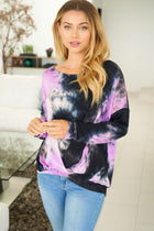 Purple Rain Tie Dye Long Sleeve Twist Top 4