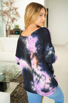 Purple Rain Tie Dye Long Sleeve Twist Top 2
