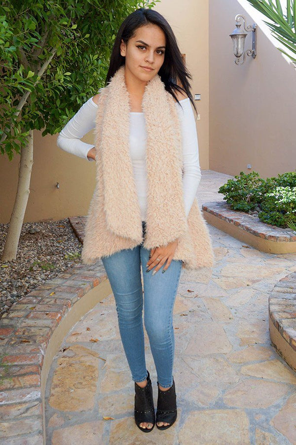 Ready In No Time Blush Faux Fur Sleeveless Vest 4