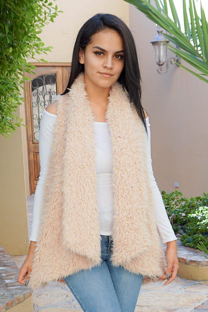 Ready In No Time Blush Faux Fur Sleeveless Vest 1