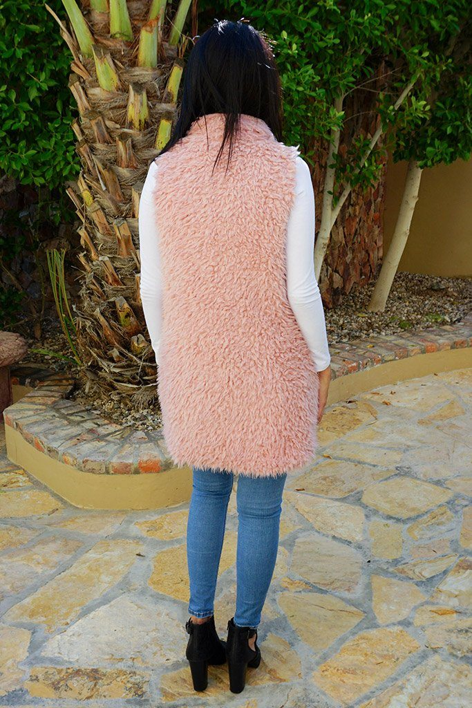 Ready In No Time Rose Pink Faux Fur Sleeveless Vest 3