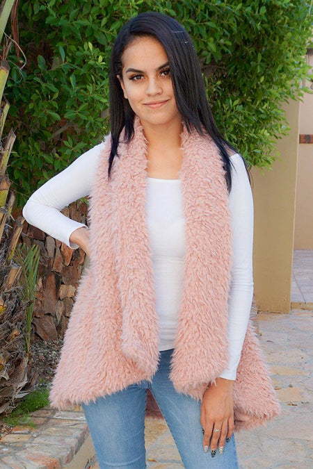 Ready In No Time Rose Pink Faux Fur Sleeveless Vest 1