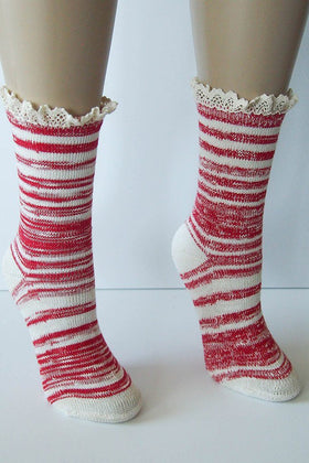 "Red Combo 9"" Marbled Slub Stripes Crew Boot Sock with Crochet Cuff 1"
