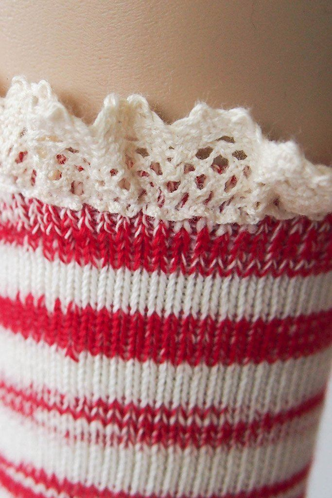 "Red Combo 9"" Marbled Slub Stripes Crew Boot Sock with Crochet Cuff 3"