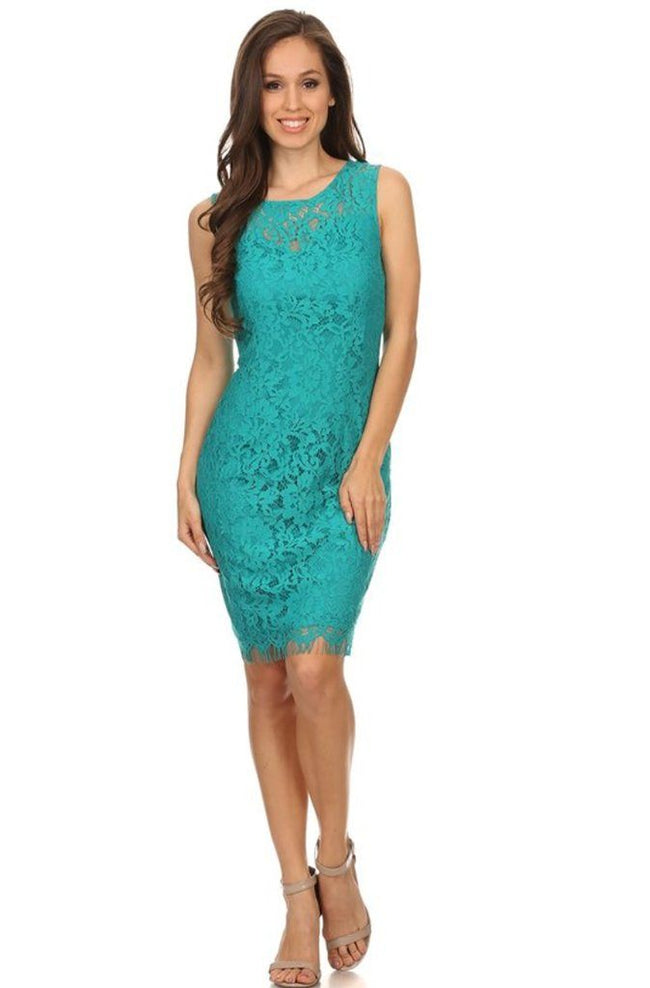 Remarkable Teal Blue Lace Midi Dress 1