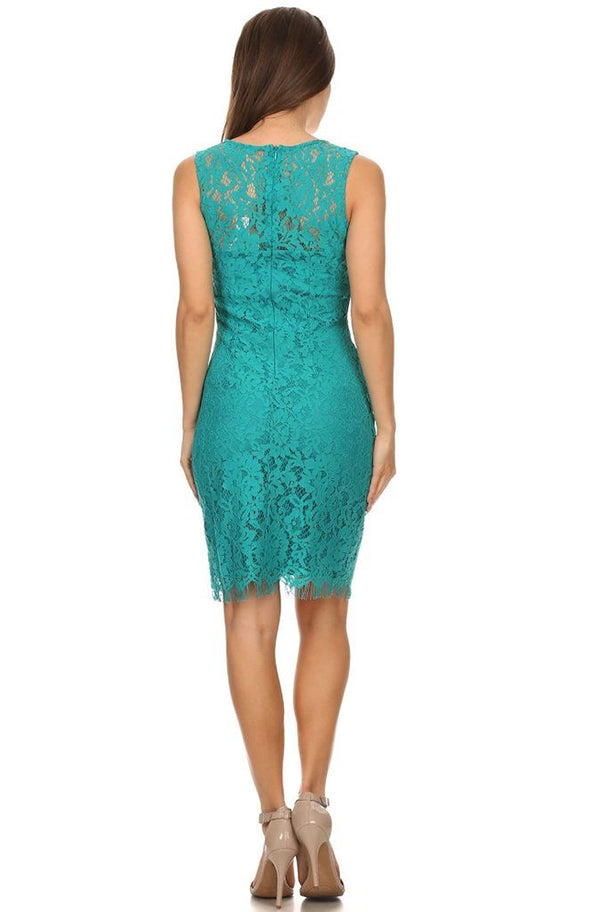 Remarkable Teal Blue Lace Midi Dress 4