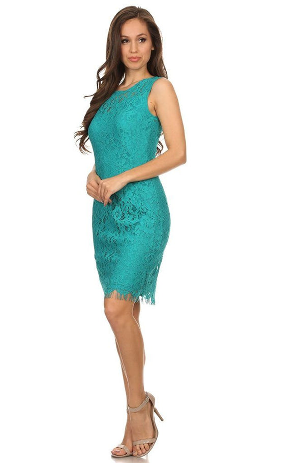 Remarkable Teal Blue Lace Midi Dress 3