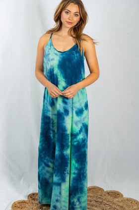 Resort Ready Aqua Navy Multi Tie Dye Maxi Dress 1