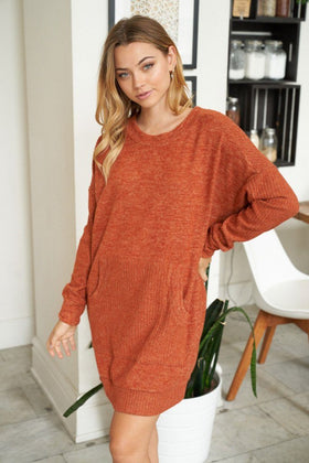Right About It Cinnamon Long Sleeve Sweater Dress 1