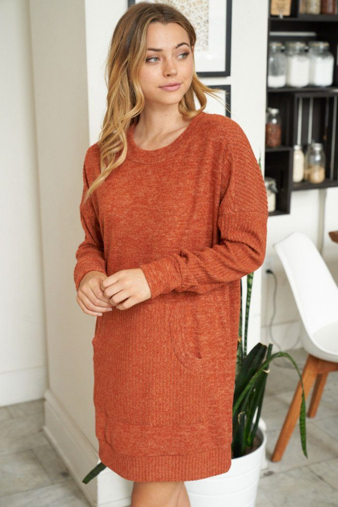 Right About It Cinnamon Long Sleeve Sweater Dress 3