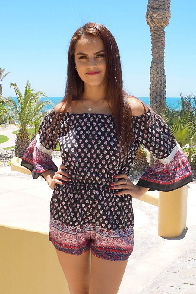 Rio In Paradise Off The Shoulder Boho Paisley Lace Romper Jumper 1