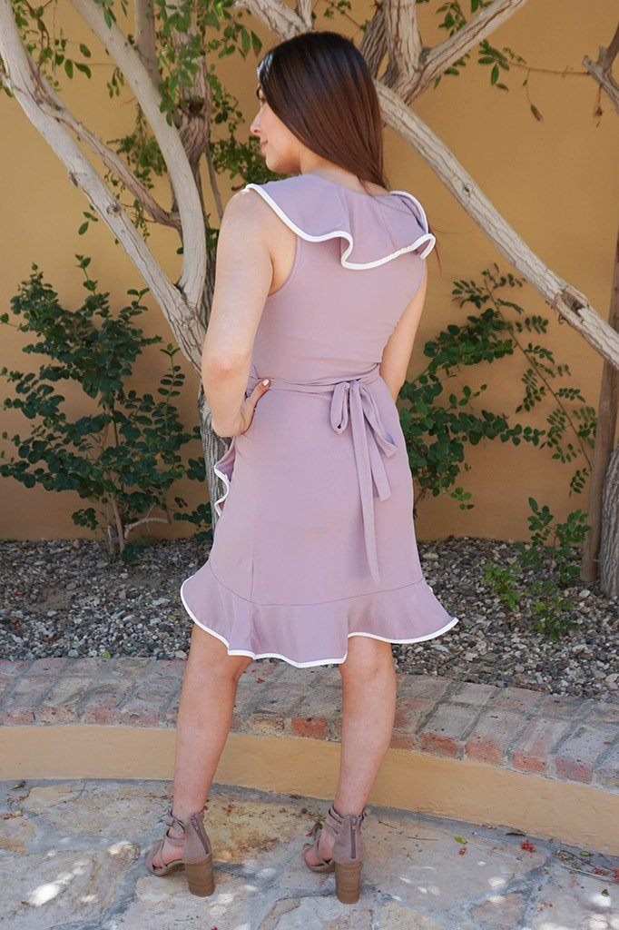 Rise To The Occassion Mauve With White Piping Wrap Dress 2