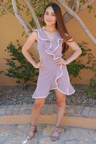 Rise To The Occassion Mauve With White Piping Wrap Dress 4
