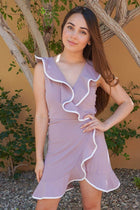 Rise To The Occassion Mauve With White Piping Wrap Dress 1