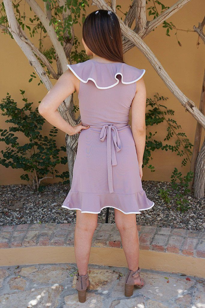 Rise To The Occassion Mauve With White Piping Wrap Dress 3