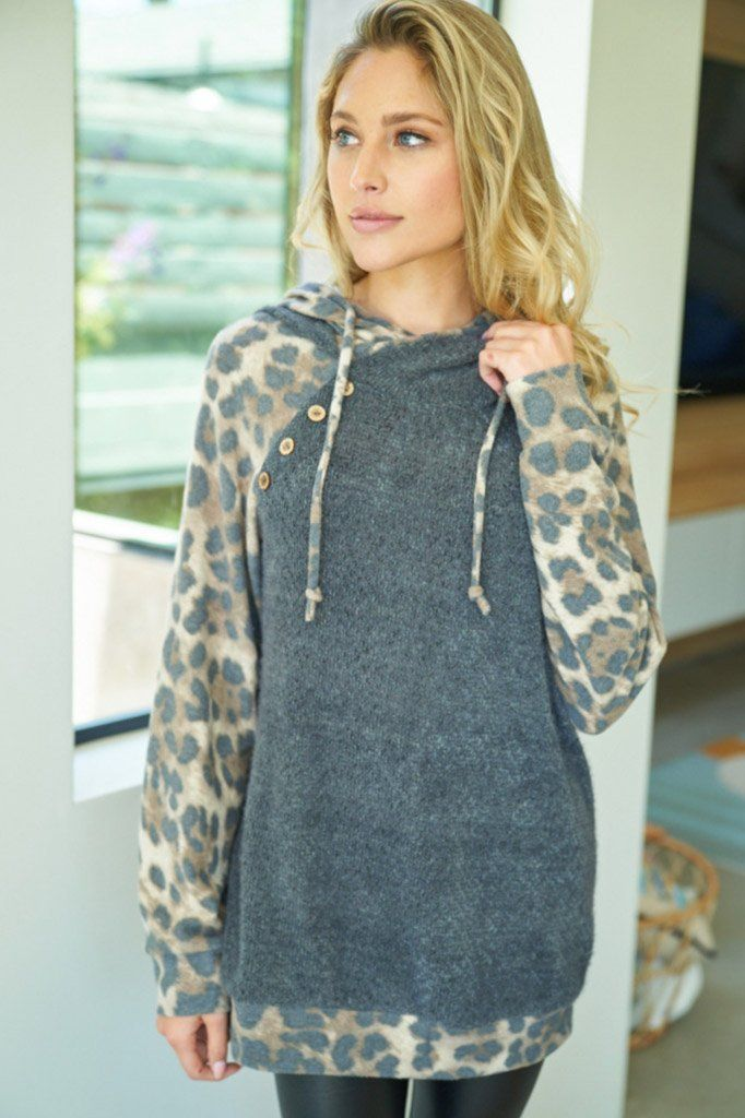 Roam The Wild Charcoal Grey Leopard Print Hoodie 4
