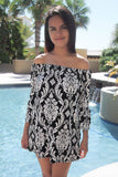 Romantic Fantasy Black And White Print Off The Shoulder Dress