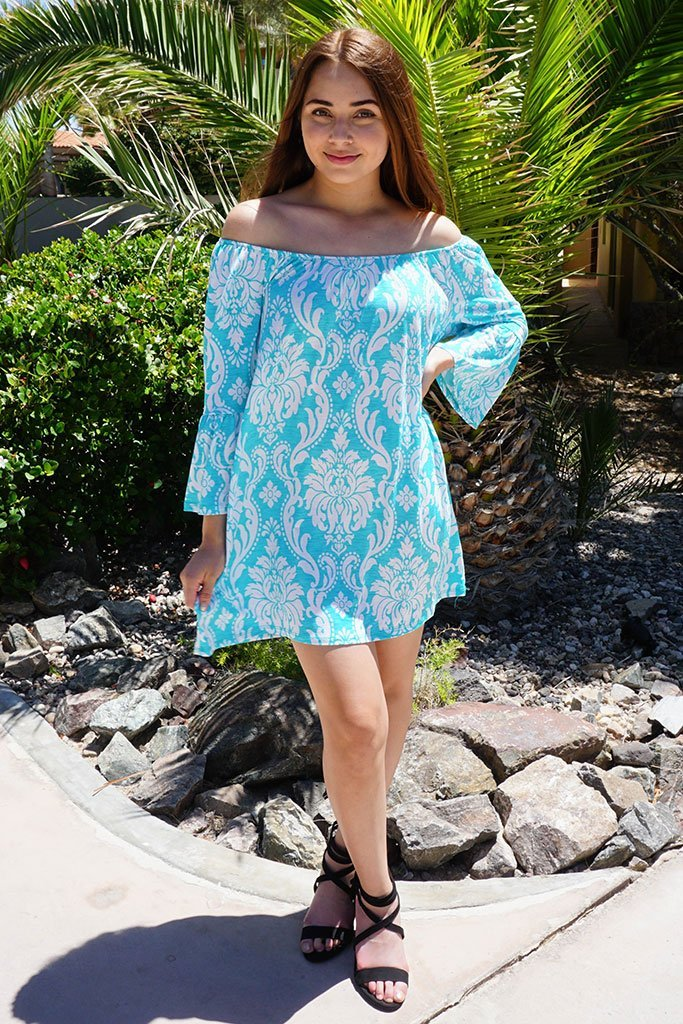 Romantic Fantasy Blue And White Print Off The Shoulder Dress  4