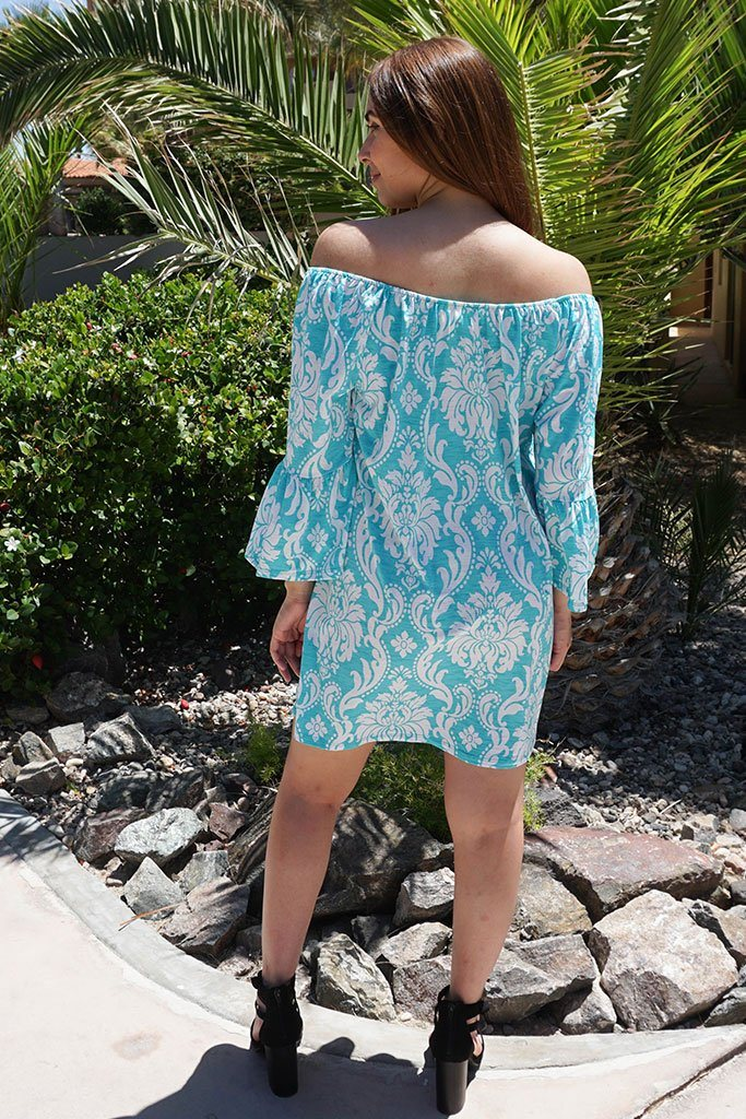 Romantic Fantasy Blue And White Print Off The Shoulder Dress  3