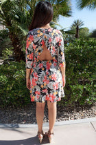Romantic Language Black Tropical Floral Print Ruffled Backless Dress 2